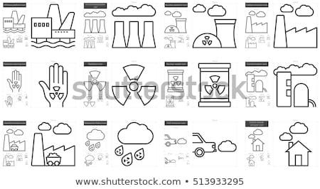 radioactieve · wolk · regen · lijn · icon · web - stockfoto © rastudio