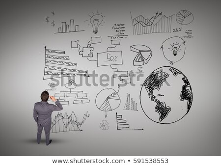 Confused businessman looking at various business graphics icon Stock photo © wavebreak_media