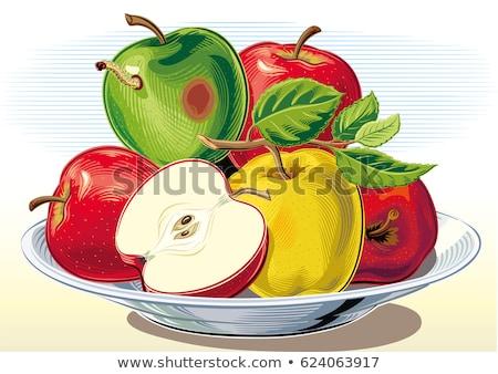 Rot appel plaat voedsel vruchten tuin Stockfoto © clarion450