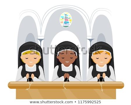 apáca · imádkozik · templom · illusztráció · nő · fekete - stock fotó © adrenalina