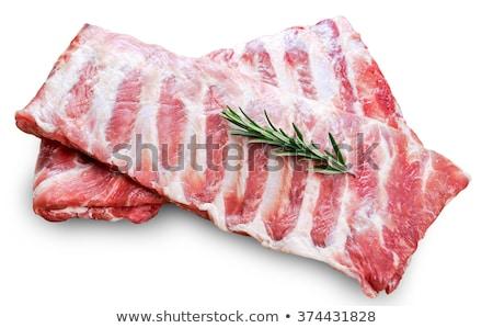 Nyers disznóhús borda háttér hús sötét Stock fotó © yelenayemchuk