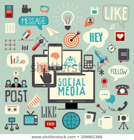 Médias sociaux linéaire sociale réseau Photo stock © ConceptCafe