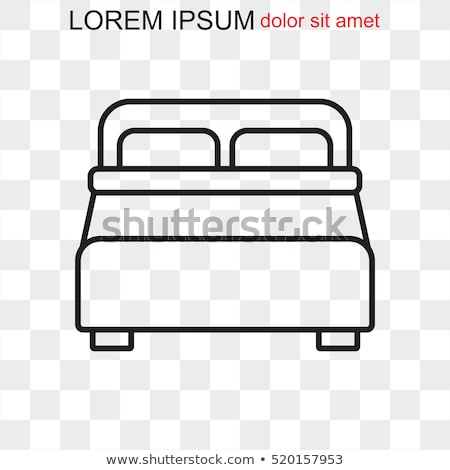 pillow line icon bed linen in white background stock photo © popaukropa