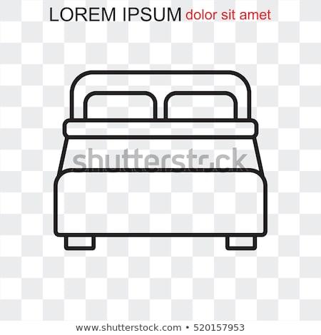Foto stock: Travesseiro · linha · ícone · cama · branco