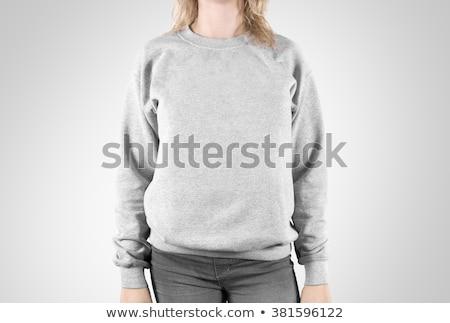 girl in grey sweater stock photo © svetography