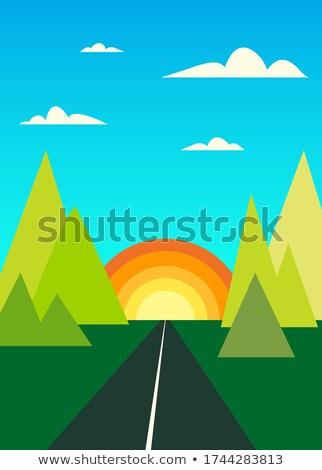 Vector cartoon stijl bergen bos Stockfoto © curiosity