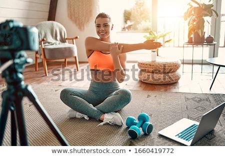 блоггер девушки ноутбука вектора стиль иллюстрация Сток-фото © curiosity
