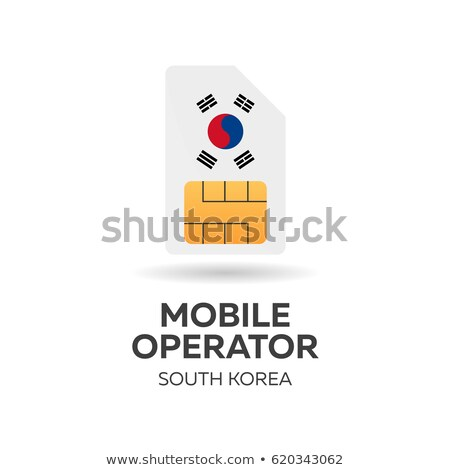 South Korea mobile operator. SIM card with flag. Vector illustration. Stock photo © Leo_Edition