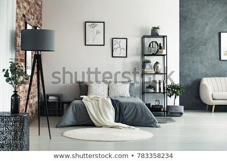 Foto stock: Dormitorio · interior · doble · cama · azul · claro