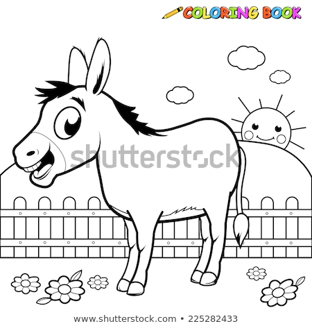 Coloring book donkey with flower Stock photo © clairev