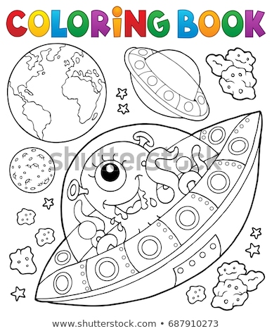 coloring book flying saucers near earth stock photo © clairev