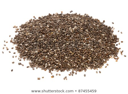 heap of organic chia seeds rich in omega-3 fatty acids, side view on white Stock photo © ivo_13