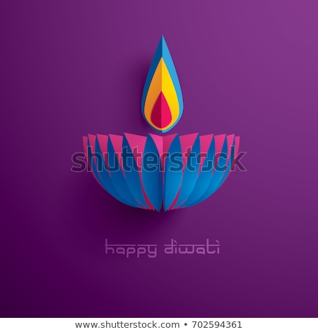 diwali diya on purple background for festival greeting stock photo © sarts