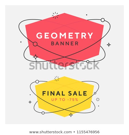geometric hexagonal shape banner set in memphis style stock photo © sarts