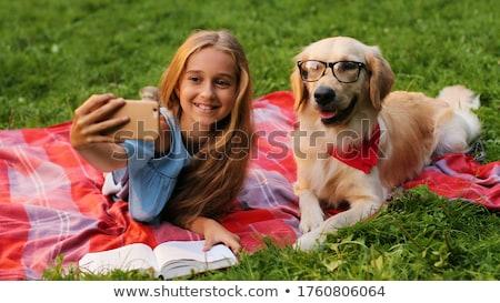 menina · cachorro · animal · de · estimação · cão · jogar · beijando - foto stock © hitdelight