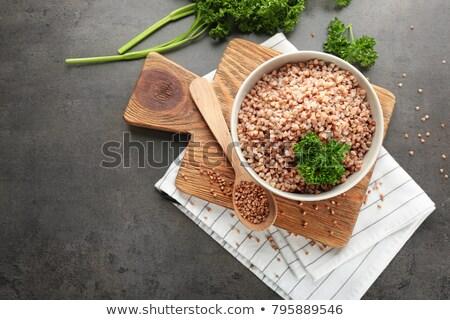 Cuchara cocido blanco alimentos plata Foto stock © Digifoodstock