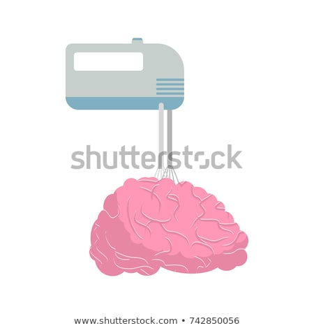 mixer and brain mix your brains and thoughts vector illustrati stock photo © maryvalery