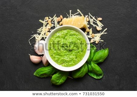 pesto · molho · ingredientes · italiano · vintage · saúde - foto stock © zhekos