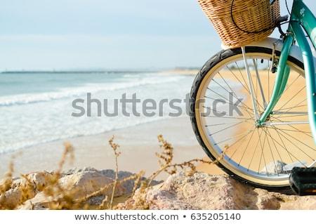 Silhouette bike spiaggia natura sfondo montagna Foto d'archivio © rufous