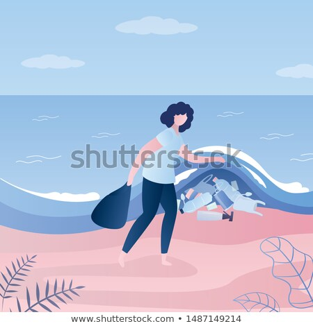 Woman showing plastic bottles under sea wave. Stock photo © RAStudio