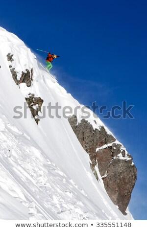 kayakçı · atlama · kar · kış · atlamak · mavi · gökyüzü - stok fotoğraf © is2