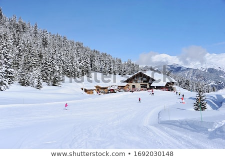 Sneeuw gedekt bergen alpine hut hemel Stockfoto © IS2