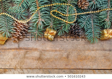 Christmas border with fir tree branches, cones, christmas decora Stock photo © vlad_star