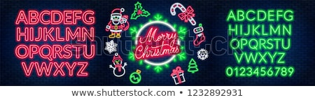 Vector Merry Christmas Illustration on Green Background with Typography and Holiday Light Garland. Stock photo © articular