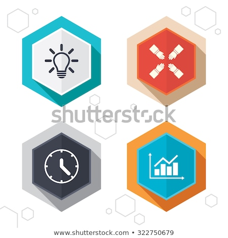 bulbs hexagonal icons set on abstract orange background stock photo © ekzarkho
