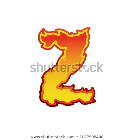 Letter Z fire. Flames font lettering. Tattoo alphabet character. Stock photo © popaukropa