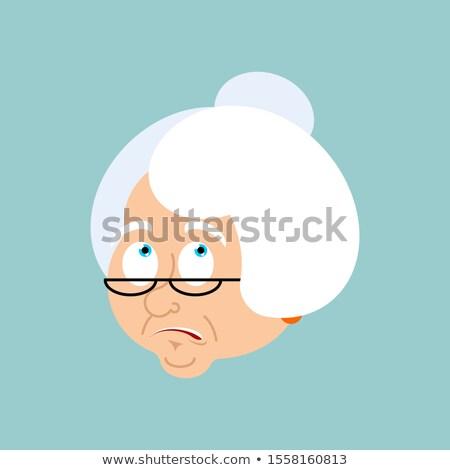Grandmother confused emotions. Face Grandma is perplexed emoji.  Stock photo © popaukropa