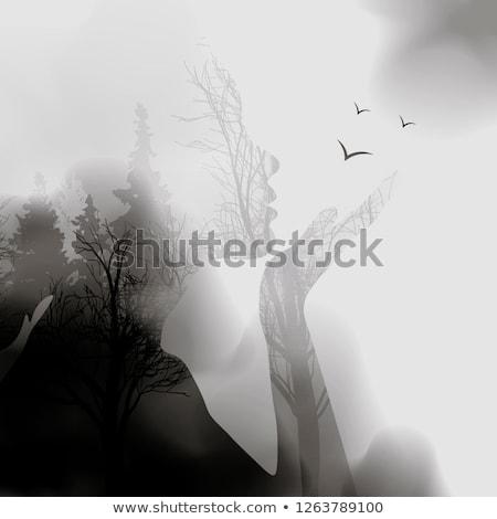 Portret kobiety podwoić ekspozycja twarz drzewo Zdjęcia stock © Andrei_