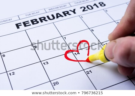 February 14, 2018 Valentine's Day. Calendar reminder heart shape Stock photo © orensila