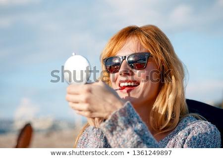 Belo loiro menina batom vermelho mulher jovem longo Foto stock © svetography