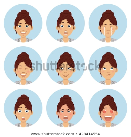 Drôle expressions faciales femme ensemble dessinées Photo stock © rogistok