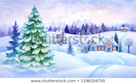 зима сумерки искусства иллюстрация Creative изображение Сток-фото © olegtoka