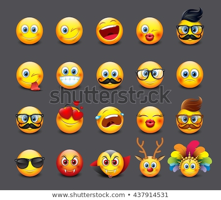Happy Red Heart Cartoon Emoji Face Character With Expression Stock photo © hittoon
