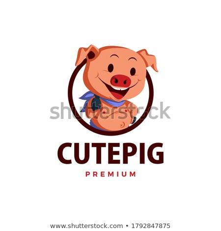 повар · свинья · мультфильм · талисман · характер · колбаса - Сток-фото © krisdog