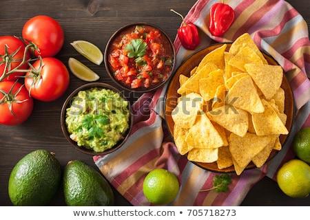 плоская маисовая лепешка чипа фон таблице приготовления мексиканских Сток-фото © M-studio