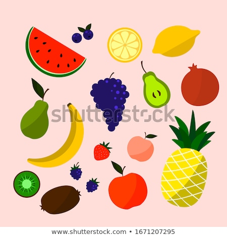Orange Fresh Fruit With Green Leaf Cartoon Drawing Stock photo © hittoon