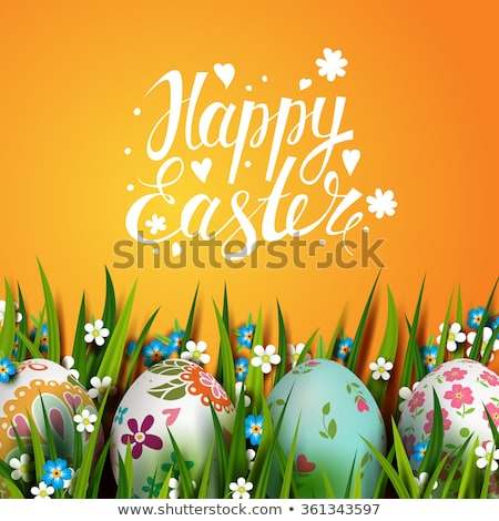 Vector Illustration of Happy Easter Holiday with Painted Egg and Flower on Green Nature Background.  Stock photo © articular