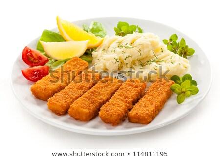 魚 · 指 · ポテトサラダ · 自家製 · ディナー - ストックフォト © vertmedia