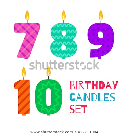 happy birthday cake with lit candle set of numbers vector illustration isolated on white backgroun stock photo © kyryloff