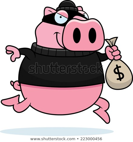 Cartoon свинья грабитель иллюстрация деньги Сток-фото © cthoman
