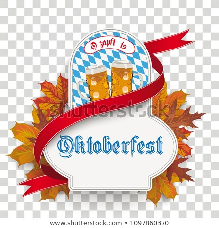 oktoberfest label ribbon beer foliage transparent stock photo © limbi007