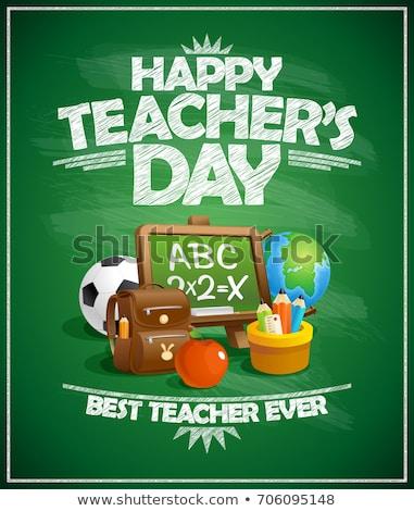 tanár · nap · üdvözlet · iskolatábla · alma · kék - stock fotó © kostins