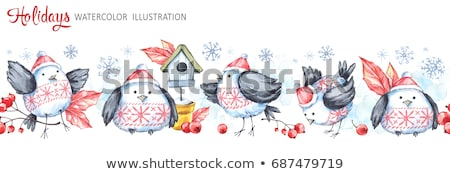 bladeren · bessen · Rood · boeg · blad · winter - stockfoto © margolana
