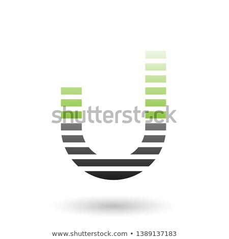 Stockfoto: Groene · zwarte · brief · icon · horizontaal · dun