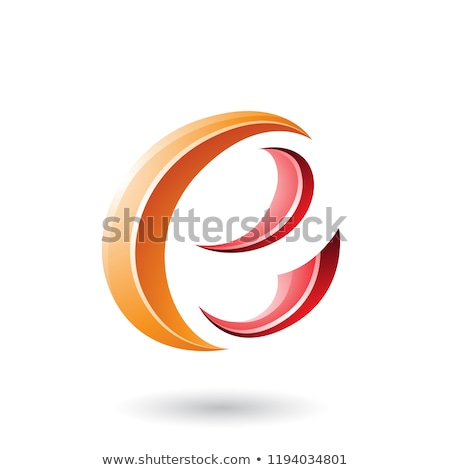 orange and red glossy crescent shape letter e vector illustratio stock photo © cidepix