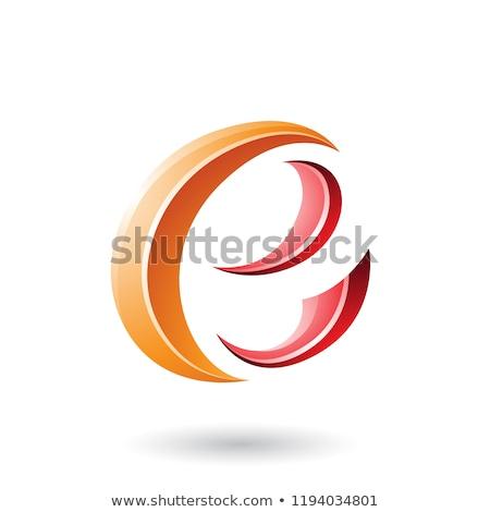 Orange and Red Glossy Crescent Shape Letter E Vector Illustratio Stock photo © cidepix